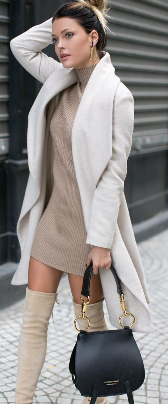 cream shades in knit dress and over the knee boots for modern sophisticated simplicity