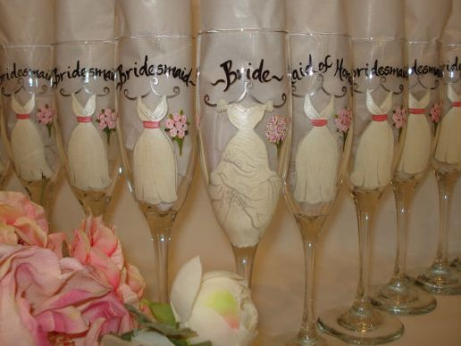 Hand Painted Personalized Bridal Party Champagne Glasses - so cute for a wedding shower/bridesmaid luncheon