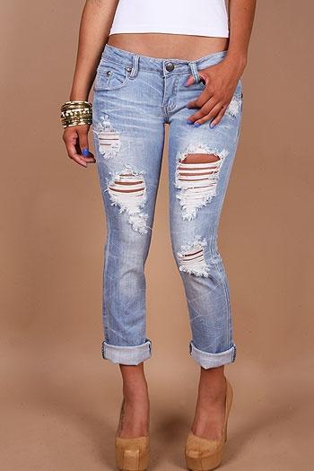 Ripped Capri Jeans - Xtellar Jeans