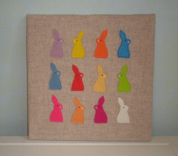 Rainbow Rabbits wall hanging by BlueberryHillCraft on Etsy, $25.00