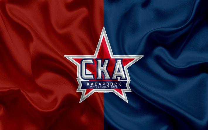Download wallpapers FC SKA-Khabarovsk, 4k, Russian football club, logo, emblem, Russian football championship, Premier League, football, Khabarovsk, Russia, silk flag