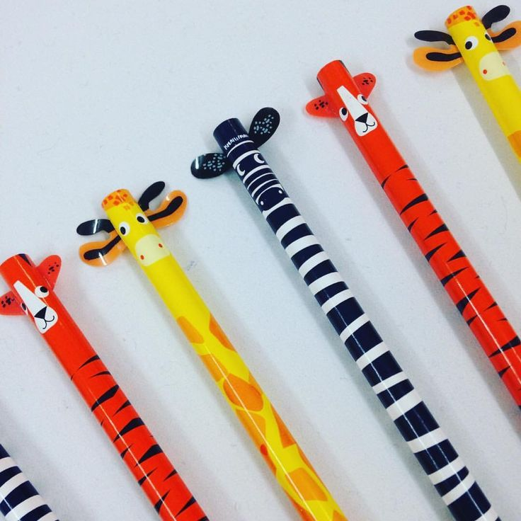 Jungle Animal Pencil with Eraser Fun Kids Stationery, Office, Gift, Giraffe, Zebra, Tiger, Back to School by RockinRuler on Etsy