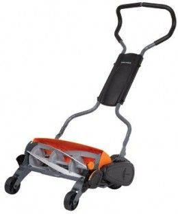 This is Fiskars StaySharp manual push lawn mower. If you want to experience the idyllic feeling of cutting your grass with a reel mower, Fiskars could be the best way to do that without compromising the health and looks of your grass. With its reel and blades assembled in a whole different way from all other reel lawn mowers in the market, Fiskars will let you go through the grass with the ease of a power mower but without paying for any power.