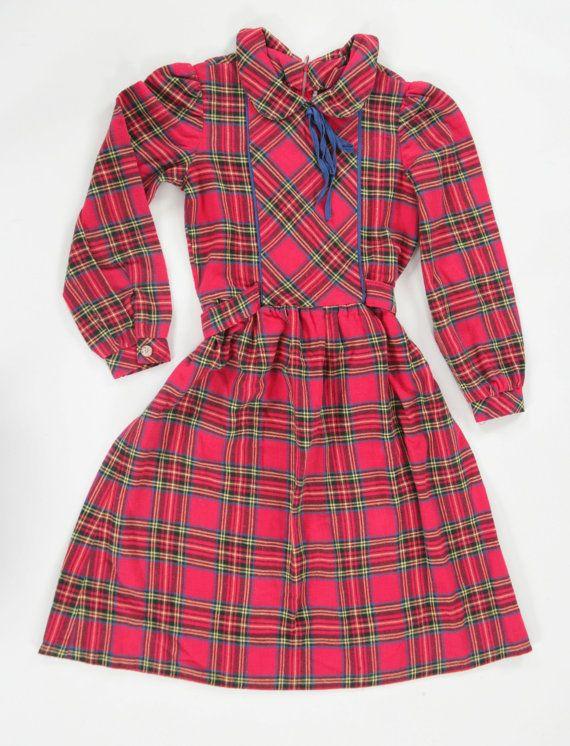 Girls vintage tartan dress. Age 78 by PeachandLoveVintage on Etsy, £20.00