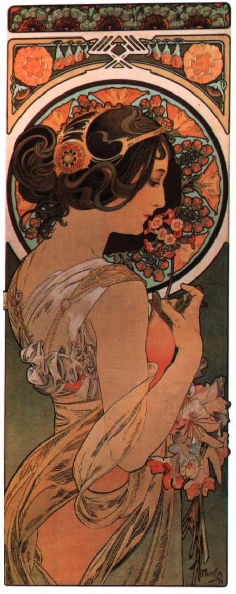 Color inspiration, and I love Mucha's art.  Cow slip - Alphonse Mucha.
