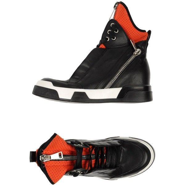Elena Iachi High-tops & Trainers (£128) ❤ liked on Polyvore featuring shoes, sneakers, red, red sneakers, red shoes, leather high top sneakers, leather high tops and wedge sneakers