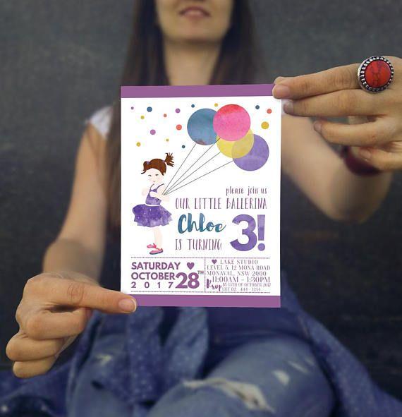 Little Ballerina Birthday Invitation Three Year Old Birthday