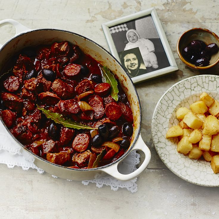 Critically-aclaimed Spanish chef, Jose Pizarro shares his favourite recipe that his Mum used to cook for him, Braised pork with tomatoes, chorizo, thyme and black olives. Find the recipe on the Waitrose website.