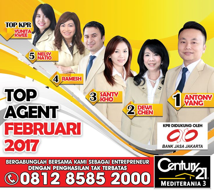 Century 21 Mediterania 3   TOP MA  1. Antony Yang 2. Dewi Chen                            3. Santy Kho 4. Ramesh 5. Nelsy Natio  TOP KPR  1. Yunita Kwee