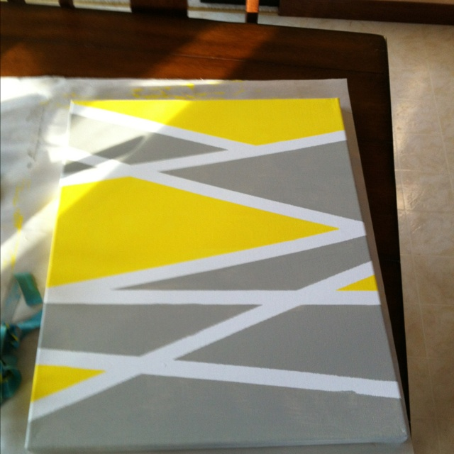 Easy painting project. Geometric shapes made with painter's tape.