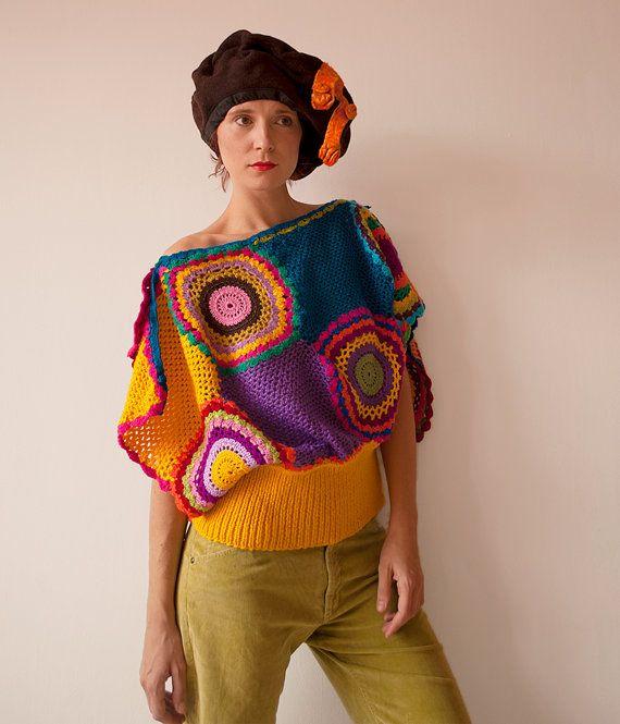 Women's Sweater Vest  Crochet Wool Purple Green by subrosa123