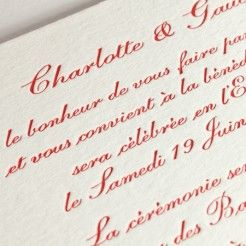 Wedding Invitation Letterpress Detail