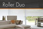 Roller Duo  Tiene un diseño práctico y funcional ofreciendo elegancia en los espacios instalados compuesta por cabezal de aluminio y Tela presentada en franjas translúcidas y opacas permitiendo una regulación perfecta de la Luz de acuerdo a elección de los ocupantes ideal para sala comedores dormitorios