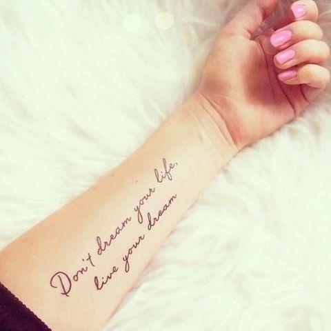 No sueñes tu vida, vive tus sueños en 10 frases para tatuarse y sus significados - IMujer