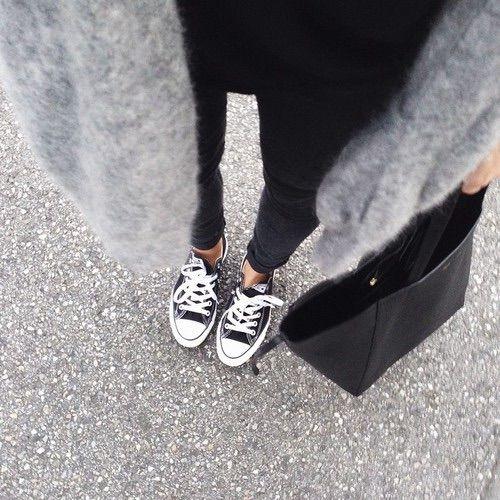 Image via We Heart It #acne #adidas #allstars #blackandwhite #cardigan #fashion #model #shopper #streetstyle #greyknitwear #ladyholmes