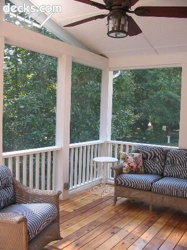 Love the idea of a back covered porch for an outdoor eating area. Bonus if you have a ceiling fan for hot summer days!