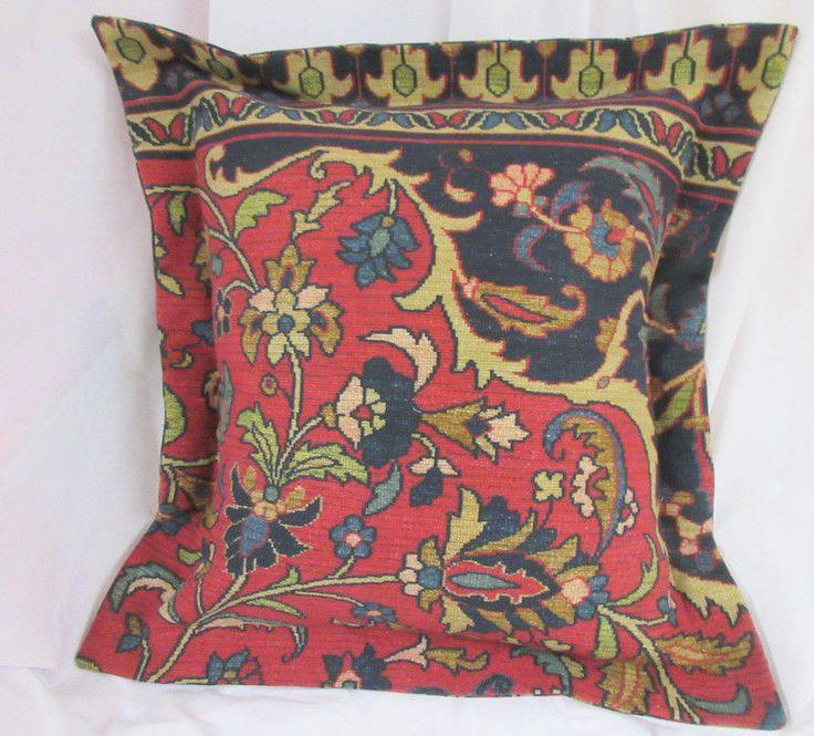 "POET SOCIETY PILLOW 18"" x 18"" RALPH LAUREN Tapestry fabric Handmade #RalphLaurenTapestryfabric #DECORATIVE"