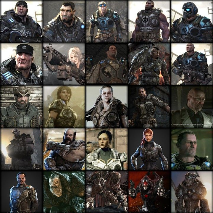 All the main characters from the Gears of War universe including GoW1, GoW2, GoW3 and GoW Judgement.