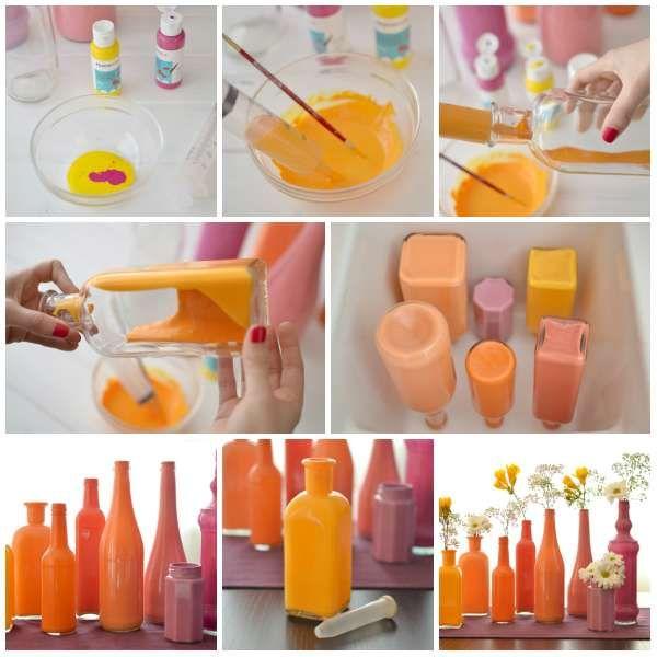 Centre de table bouteilles en verre peintes