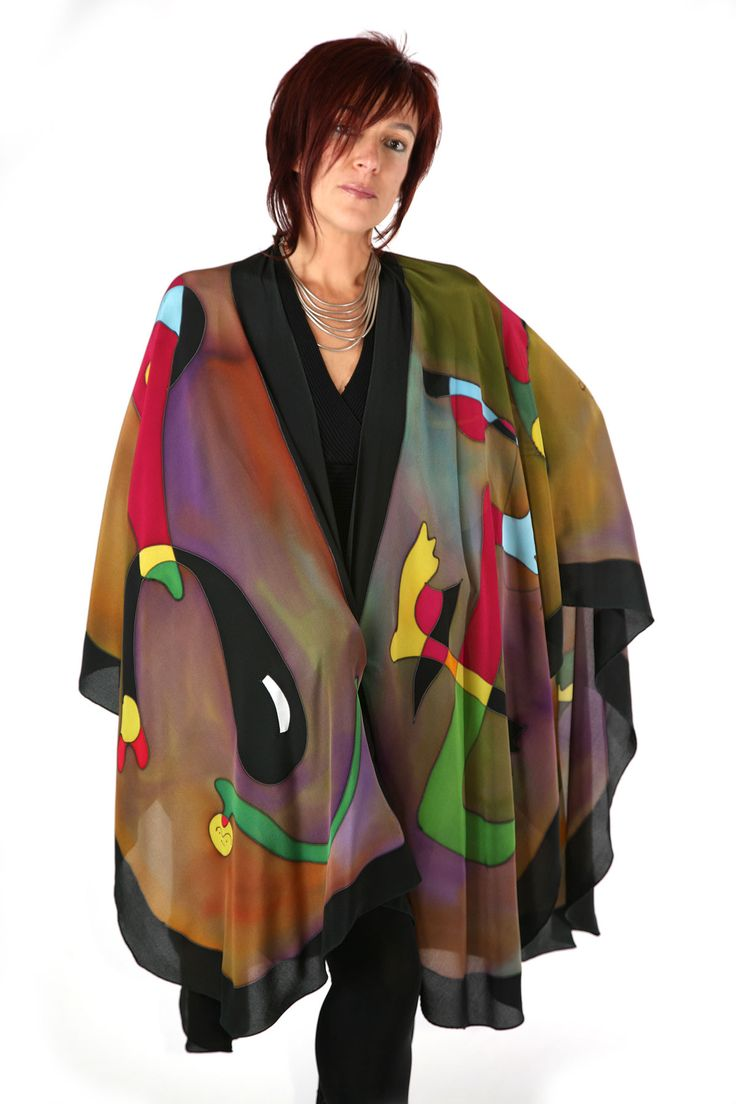 Miro Olive - Hand painted silk cape by Natasha Foucault, represented by Human Arts Gallery in Ojai, CA.
