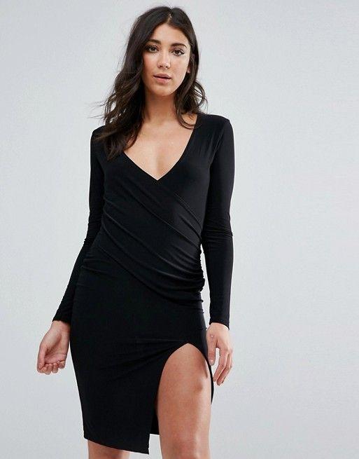 Asos - Missguided Black Long Sleeve Wrap Split Hem Midi Dress