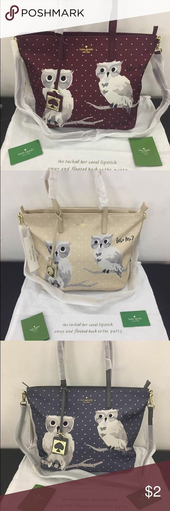 $50 Kate Spade Owl Tote For order check our facebook page LUXMATTER kate spade Bags Totes