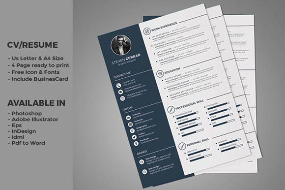 Clean CV/Resume  by fahmie on @creativemarket #resume #cv #template