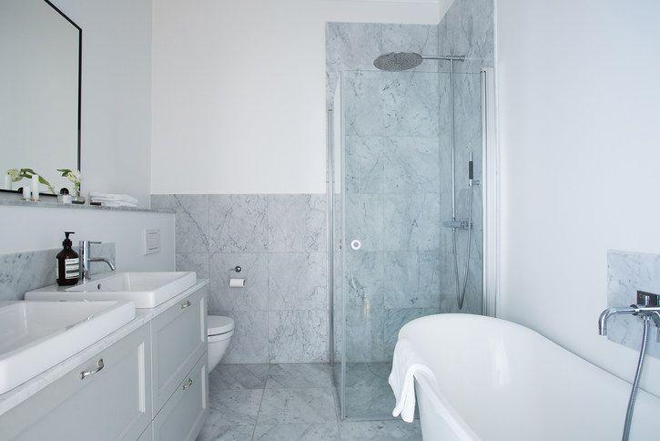 Marmor, dusch + badkar