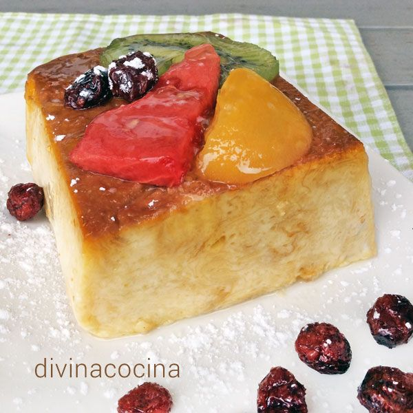 Este pudding de frutas en alm bar se puede preparar con - Como hacer melocoton en almibar ...
