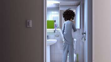 3-d 3d animation Boy guy man early morning toilet bathroom comedy humor funny wallpaper