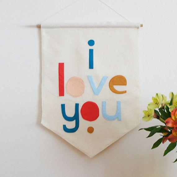 I LOVE YOU felt banner felt flag pennant flag by ConnieClementine