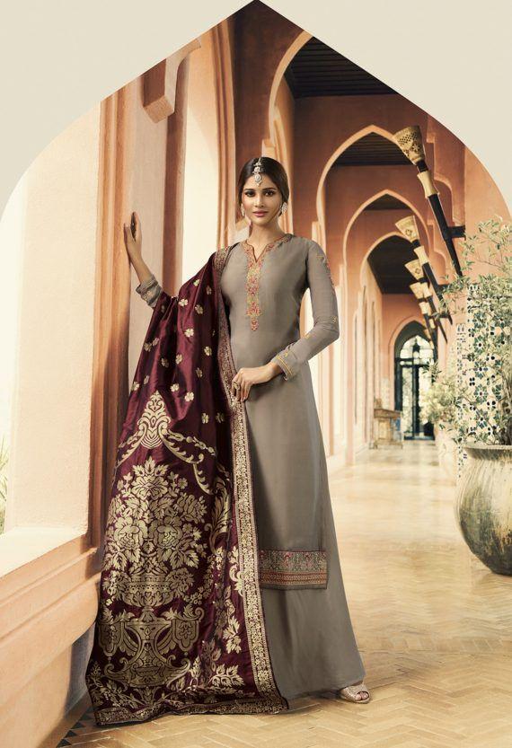 9975715648 Gray and Wine Embroidered Palazzo Suits Top Georgette Bottom Santoon Dupatta  Banarasi Silk Complete With Zari, Resham and Stone Work.