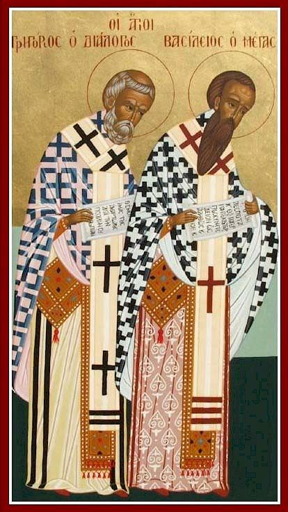 "|Saints of the Day - January 2 - St. Basil and St. Gregorian Nazianen - (329-379) (329-390) Bishops, Confessors, Theologians, Doctors of the Church #pinterest ""Two Bodies One Spirit"" On January 2, the Roman Catholic Church honors the memory of two friends from an area of what is now Turkey that was called Cappadocia. These men began their friendship while away at school ........... Awestruck Catholic Social Network"