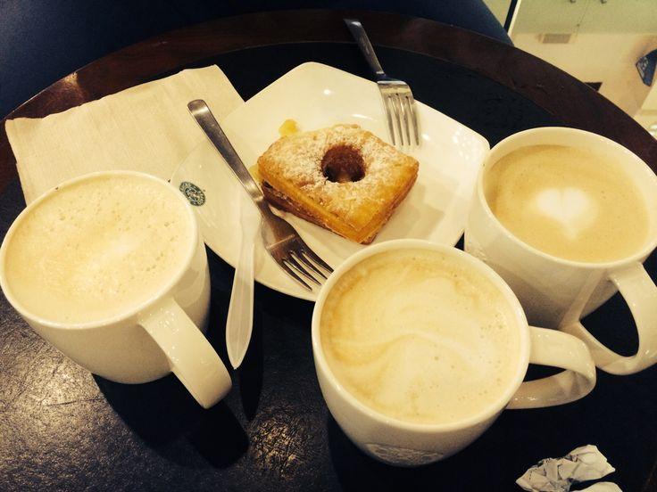 Starbucks again..... All latte lovers... Hazelnut Latte, Vanilla Latte, Original Latte with apple tarts