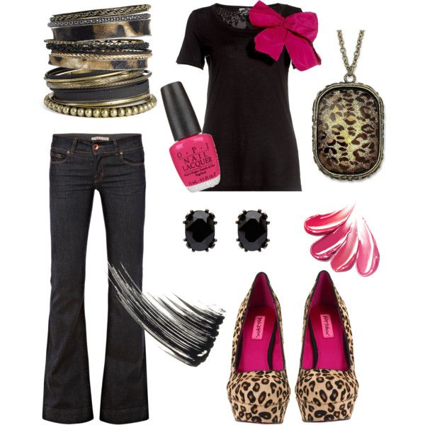 Leopard, black, and hot pink.