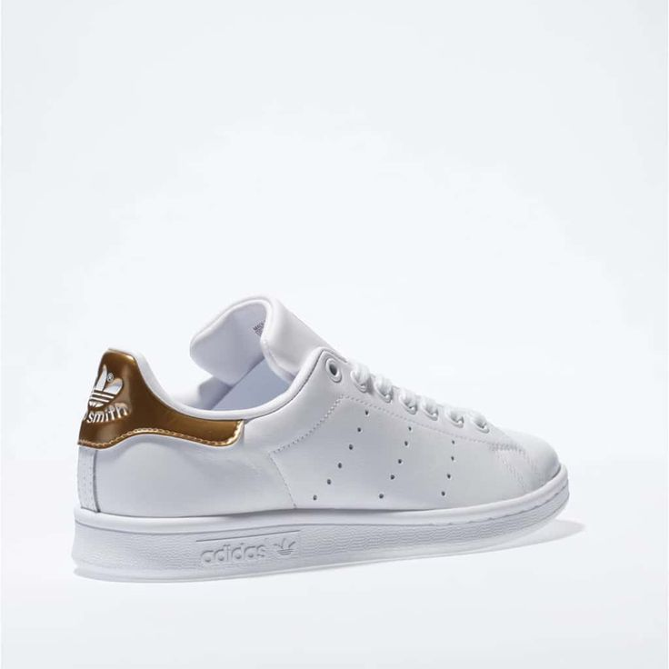 womens white & gold adidas stan smith trainers | schuh