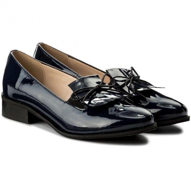 Lordsy Sagan 2790 Granatowy Lakier Shoes Loafers Fashion