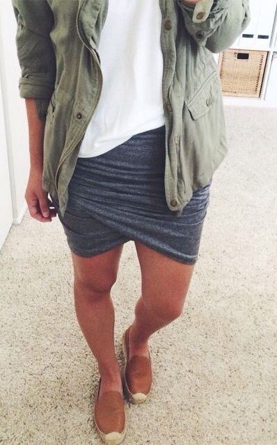 Charcoal gray skirt, white tee, olive army jacket