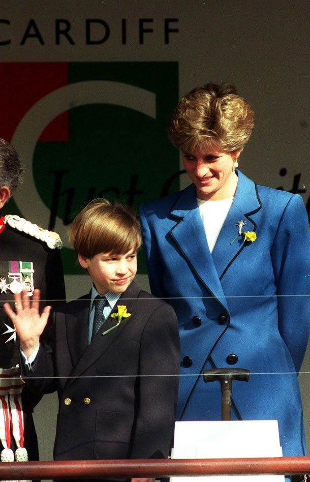 March 1, 1991: Princess Diana and her son, Prince William on his first official engagement on St. David's Day (the patron saint) at Cardiff, Wales. The yellow daffodil represented Wales.