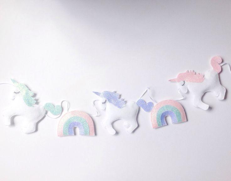 A Special unicorn garland with glitter rainbows, unicorn bunting, white unicorn nursery decor with glitter details