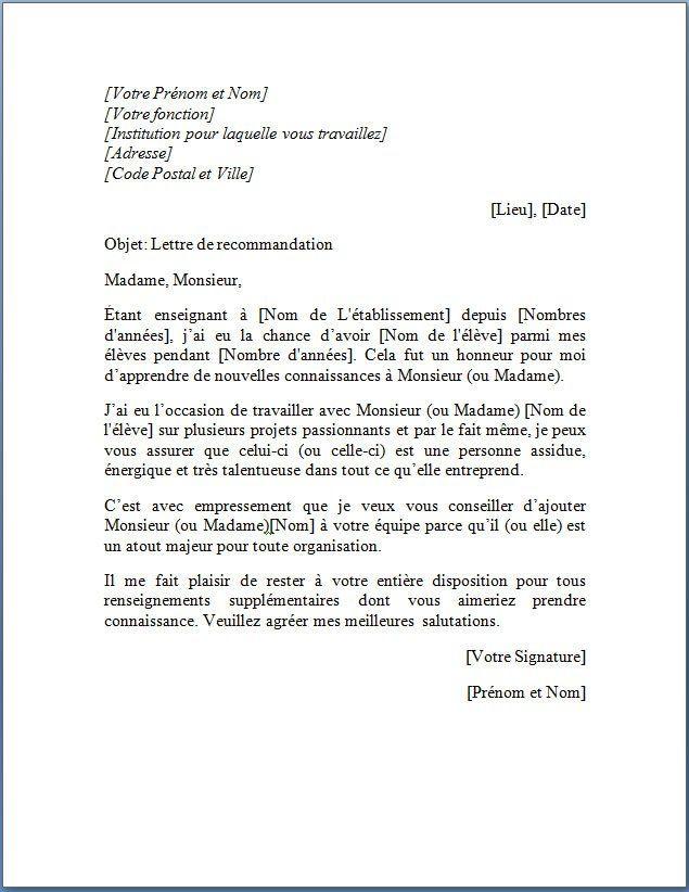 lettre de recommandation d u0026 39 un professeur pour son  u00e9tudiant