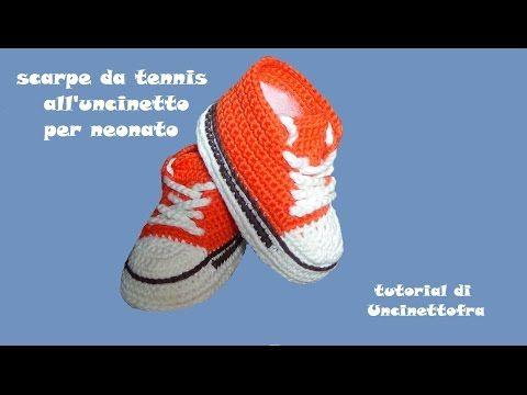 scarpine da tennis all'uncinetto per neonato - YouTube