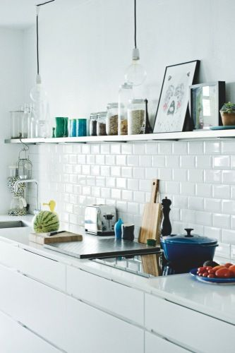 white kitchen, metro tile