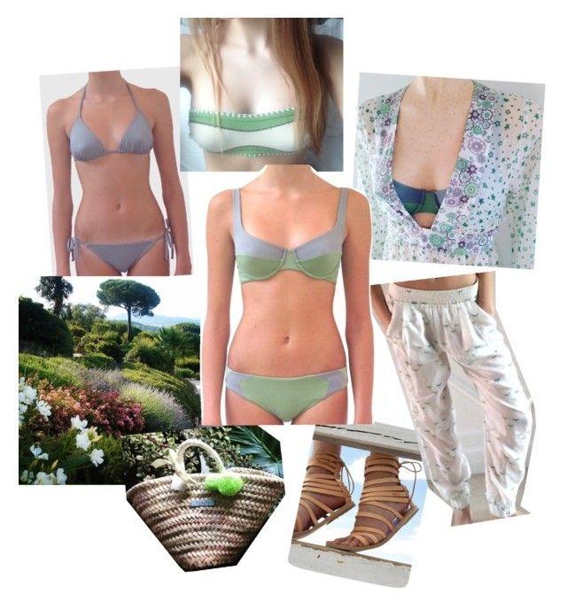 """Relax and go green !"" by babitamia on Polyvore featuring moda, bikini, bandeau, embroidery e trendingbikini"
