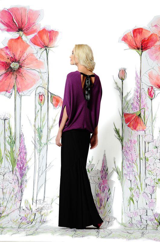 Блуза фиолетовая с лентами.  Свободного кроя, очень красиво смотрится как с юбками, так и узкими брюками. Преимуществом является то, что она совершенно не стесняет движений, предоставляя своей обладательнице полную свободу и комфорт.  #платье #блуза #вечерняямода #одежда #купитьплатье #musthave #платьенавыход #мода #весна #российскиедизайнеры #стильноеплатье