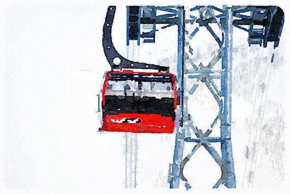 Gondola Tower Watercolour Whistler Peak by SpinnakerLaneDesigns