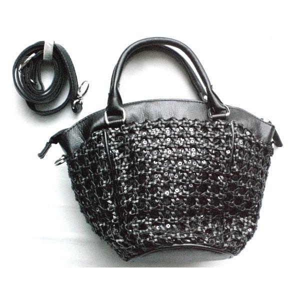 Woven black bucket bag