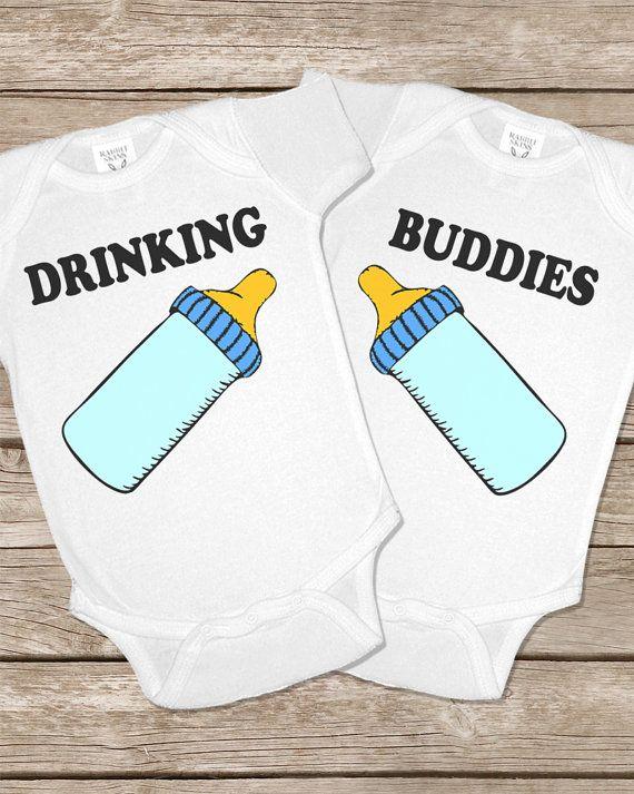 Drinking Buddies Onesie Funny Twins Baby Gifts Onesies Set Girls ...