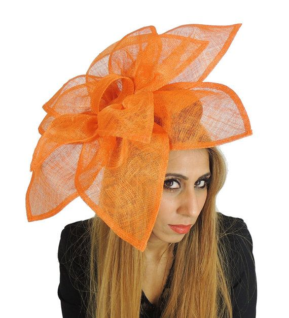 Carnation Orange Fascinator Hat for Weddings, Occasions and Parties on a…