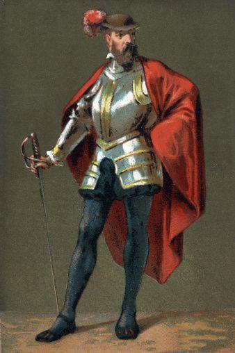 Francesco Pizarro. Portrait of Francesco Pizarro 1475-1541, Spanish conquistador. Chromolithography c. 1890.